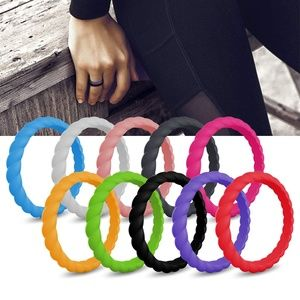 10 Pack Silicone Wedding Ring Braided Rubber Bands